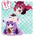 ! !? 2girls ? absurdres bangs black_dress blue_ribbon blunt_bangs blush book book_stack chibi commentary_request crescent crescent_moon_pin dress eyebrows_visible_through_hair hat hat_ribbon head_wings highres holding holding_book koakuma long_hair mob_cap multiple_girls open_mouth patchouli_knowledge pink_dress purple_hair red_eyes red_ribbon redhead ribbon speech_bubble spoken_exclamation_mark spoken_question_mark sweatdrop touhou tsurime very_long_hair violet_eyes you_(noanoamoemoe)