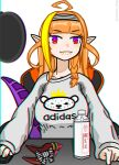 1girl adidas ahoge asacoco bangs blonde_hair blunt_bangs bottle bow braid casual chair chromatic_aberration closed_mouth dragon_girl dragon_tail eyebrows_visible_through_hair gamer_chair hairband highlights highres hololive horn_bow kiryuu_coco long_sleeves looking_at_viewer mouse_(computer) multicolored multicolored_eyes multicolored_hair mutant_dog no_horn orange_hair pointy_ears red_eyes scales simple_background single_braid sitting solo streaked_hair striped striped_hairband sweaty_clothes tail twitter_username upper_body violet_eyes white_background