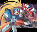 2boys android arm_cannon blonde_hair blue_eyes capcom green_eyes helmet highres iroyopon letterboxed long_hair male_focus multiple_boys open_mouth outside_border robot rockman rockman_x serious weapon x_(rockman)
