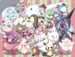 ;d alcremie aromatisse carbink claws clefairy closed_eyes commentary_request dedenne floette gen_1_pokemon gen_2_pokemon gen_3_pokemon gen_4_pokemon gen_5_pokemon gen_6_pokemon gen_7_pokemon gen_8_pokemon green_eyes hatterene highres impidimp jahana_mei jigglypuff klefki legendary_pokemon looking_at_viewer marill mawile mimikyu morelull one_eye_closed open_mouth pokemon pokemon_(creature) ribombee smile star_(symbol) swirlix sylveon tapu_fini toes togekiss whimsicott