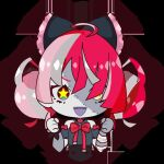 1girl ahoge bandaged_arm bandages black_bow black_dress bow chibi clenched_hands double_bun dress grey_hair hair_bow heterochromia hololive hololive_indonesia kureiji_ollie kureiji_ollie_(artist) multicolored_hair open_mouth pink_hair red_bow red_eyes redhead solo star_(symbol) star_in_eye stitched_face stitches symbol_in_eye torn_clothes torn_dress virtual_youtuber yellow_eyes zombie