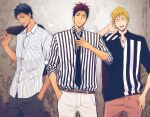 3boys a_jou adjusting_neckwear aomine_daiki arm_up bangs belt black_eyes black_neckwear black_pants black_shirt blonde_hair blue_hair brown_belt closed_mouth collared_shirt cowboy_shot dark_skin dark_skinned_male hand_in_pocket hand_up holding holding_clothes holding_jacket jacket kagami_taiga kise_ryouta kuroko_no_basuke looking_at_another looking_at_viewer male_focus multiple_boys necktie open_mouth over_shoulder pants red_eyes red_pants redhead shirt short_hair sideways_glance sleeves_rolled_up smile striped striped_shirt tongue tongue_out two-tone_shirt white_pants white_shirt