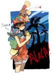 1girl apios1 arrow_(symbol) backpack bad_id bad_pixiv_id bag bangs bare_shoulders black_eyes blue_sky blush blush_stickers border braid buneary character_name clouds cowboy_shot cropped_legs cup day drink drinking drinking_straw eyewear_on_head flat_chest floral_print flower gen_4_pokemon gen_7_pokemon hands_up hat hat_flower heart heart-shaped_eyewear hibiscus holding long_hair looking_at_viewer mars_symbol on_head on_shoulder orange_shirt outdoors outside_border palm_tree poke_ball_theme pokemon pokemon_(creature) pokemon_(game) pokemon_on_head pokemon_on_shoulder pokemon_usum popplio red-framed_eyewear red_flower selene_(pokemon) shirt short_shorts shorts shoulder_bag silhouette sky sleeveless sleeveless_shirt standing star-shaped_eyewear sunglasses swept_bangs tied_hair tree twin_braids venus_symbol white_border white_shorts yellow_headwear