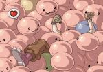 1boy :3 apple blush_stickers boots brown_gloves brown_pants buried commentary_request drooling drops_(ragnarok_online) emoticon food fruit full_body gloves green_apple heart holding holding_food holding_fruit marin_(ragnarok_online) novice_(ragnarok_online) pants poporing poring ragnarok_online red_footwear short_sleeves slime spoken_heart susukinohukurou too_many trembling