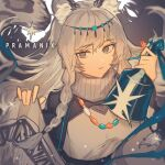 1girl animal_ear_fluff animal_ears arknights bead_necklace beads bell black_cloak braid breasts character_name circlet cloak closed_mouth commentary dress expressionless eyebrows_visible_through_hair holding holding_bell jewelry leopard_ears long_hair looking_at_viewer medium_breasts necklace pramanix_(arknights) scarf sg_m_05 side_braids silver_hair simple_background solo twin_braids white_background white_dress white_scarf
