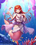 1girl :d air_bubble animal bangs bare_arms bare_shoulders blush braid breasts bubble clownfish coral eyebrows_visible_through_hair fish frills long_hair mermaid momoshiki_tsubaki monster_girl open_mouth pointy_ears red_eyes redhead shirt sleeveless sleeveless_shirt small_breasts smile solo sparkle twin_braids underwater vanguard_(warship_girls_r) very_long_hair warship_girls_r water watermark white_shirt