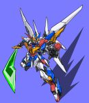 beastkingbarbaros green_eyes highres holding holding_sword holding_weapon horns mecha mechanical_wings no_humans open_hand original purple_background science_fiction single_horn solo super_robot sword v-fin weapon wings