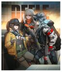 absurdres acog assault_rifle bandolier character_name cheogtanbyeong cleaners combat_knife deele_(girls_frontline) duct_tape explosive fang_hk416_(girls_frontline) gas_mask genderswap genderswap_(mtf) girls_frontline gloves goggles goggles_on_headwear grenade gun h&k_hk416 hellfire_vector_(girls_frontline) helmet highres hk416_(girls_frontline) knife last_man_battalion mask_around_neck pointing rifle rogue_division_agent scope tactical_clothes tom_clancy's_the_division trigger_discipline vector_(girls_frontline) weapon winter_uniform