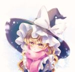 1girl :o bangs black_headwear black_shirt blonde_hair blush bow breath chestnut_mouth eyebrows_visible_through_hair eyelashes frilled_hat frills hat hat_bow highres kirisame_marisa long_hair looking_at_viewer pink_scarf puffy_sleeves scarf shirt snowing solo symbol_commentary touhou upper_body wavy_hair white_background white_bow winter_clothes witch_hat yellow_eyes yurigaoka_nayuki