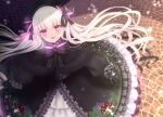 1girl :d bangs beret black_bow black_capelet black_dress black_gloves black_headwear blurry blurry_background blush bow capelet commentary depth_of_field dress eyebrows_visible_through_hair fate/extra fate_(series) food_print frilled_dress frilled_sleeves frills from_above fur-trimmed_capelet fur_trim gloves hair_between_eyes hat hat_bow highres long_hair long_sleeves looking_at_viewer looking_up mushroom_print nursery_rhyme_(fate/extra) open_mouth print_dress puffy_long_sleeves puffy_sleeves sleeves_past_wrists smile solo striped striped_bow twitter_username very_long_hair violet_eyes white_hair yuzushiro