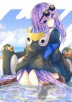 1girl animal animal_hood ass bangs bird black_jacket blue_hair bow closed_mouth clouds eyebrows_visible_through_hair eyewear_on_head fate/grand_order fate_(series) from_behind full_body glasses hair_between_eyes hair_strand hood jacket karappo_(poket12) long_hair long_sleeves looking_at_viewer looking_back meltryllis meltryllis_(swimsuit_lancer)_(fate) messy_hair partially_submerged penguin penguin_hood purple_bow sidelocks sitting sleeves_past_fingers sleeves_past_wrists smile solo sunglasses swimsuit thigh-highs thighs very_long_hair violet_eyes water