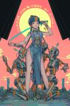 1girl 3others android aoiakamaou aqua_dress aqua_hair aqua_headwear arm_tattoo arm_up artist_name bangs bare_legs barefoot bead_bracelet beads blunt_bangs blush_stickers bracelet braid breasts chin_strap china_dress chinese_clothes chinese_commentary clouds commentary_request contrapposto cyberpunk dated day dress earrings english_commentary fingernails full_body glowing glowing_eyes grin groin hat highres holding holding_sword holding_weapon humanoid_robot impaled jewelry jiangshi joints kneeling leg_tattoo long_fingernails long_hair looking_at_viewer mechanical_arms mechanical_hands mechanical_legs mechanical_parts mixed-language_commentary multiple_others necklace neon_trim ofuda orange_eyes original outdoors outstretched_arm pink_lips pink_nails prayer_beads punk qing_guanmao red_sky robot robot_joints ruins sharp_fingernails sharp_teeth short_eyebrows shoulder_tattoo skeleton sky smile smug standing sword symbol_commentary tattoo teeth thigh_grab thigh_tattoo toenails twin_braids v-shaped_eyebrows very_long_hair weapon yin_yang zombie