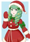 1girl animal_print artist_name child christmas cute fire_emblem fire_emblem:_fuukasetsugetsu fire_emblem:_three_houses fire_emblem_16 fire_emblem_heroes fish_print flayn_(fire_emblem) gloves green_eyes green_hair green_ribbon hair_ribbon hairpin intelligent_systems loli long_hair looking_at_viewer miven moe nintendo ribbon santa_costume santa_hat solo star super_smash_bros. tree_print twintails