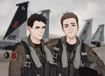 2boys ace_combat ace_combat_zero aircraft airplane arm_around_shoulder black_hair blonde_hair blue_eyes cipher_(ace_combat) emblem f-15_eagle fighter_jet friends galm_team grey_eyes harness holding jet larry_foulke light_smile looking_at_viewer military military_vehicle multiple_boys patch pilot pilot_helmet pilot_suit signature skyleranderton