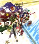 2girls altina animal_ears antlers bangs bell black_legwear blue_eyes blue_hair box breasts candy candy_cane capelet christmas_ornaments closed_mouth deer_ears fake_animal_ears feathers fire_emblem fire_emblem:_radiant_dawn fire_emblem_heroes food fur_trim gift gift_box gloves glowing glowing_weapon hair_ornament hat headband highres holding holding_sword holding_weapon kita_senri leg_up long_hair looking_away low-tied_long_hair medium_breasts multiple_girls official_art open_mouth open_toe_shoes pom_pom_(clothes) purple_hair red_gloves reindeer_antlers sanaki_kirsch_altina santa_hat smile sparkle star_(symbol) sword thigh-highs tied_hair transparent_background weapon white_footwear white_gloves wide_sleeves yellow_eyes