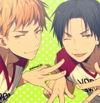 2boys ;) bangs basketball_uniform black_eyes black_hair blonde_hair closed_mouth clothes_writing collarbone commentary_request double_w green_background kise_ryouta kuroko_no_basuke looking_at_viewer male_focus mashima_shima multiple_boys one_eye_closed shirt sleeveless sleeveless_shirt smile sportswear star_(symbol) starry_background takao_kazunari tongue tongue_out twitter_username upper_body w white_shirt yellow_eyes