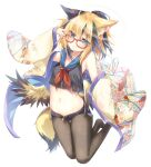 1girl :t absurdres amatsuji animal_ear_fluff animal_ears arm_up armpits bare_shoulders black_eyes black_shirt black_shorts blonde_hair blue_eyes breasts brown_legwear closed_mouth crop_top crop_top_overhang denim denim_shorts exposed_pocket feathered_wings fox_ears fox_girl fox_tail frown glasses hair_ornament hairclip hand_on_eyewear haori heterochromia highres japanese_clothes legs_up long_sleeves looking_at_viewer looking_over_eyewear low_wings micro_shorts midriff multicolored_hair navel neckerchief no_shoes off_shoulder open_clothes open_fly original pantyhose ponytail pout red-framed_eyewear sailor_collar sailor_shirt shirt short_hair shorts simple_background sleeveless sleeveless_shirt small_breasts solo stomach tail two-tone_hair v-shaped_eyebrows white_background wide_sleeves wings