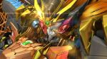 3d chinese_commentary close-up galeon_(pixiv_740042) genesic_gaogaigar glowing glowing_eye highres looking_down mecha no_humans orange_hair shiny solo super_robot yuusha_ou_gaogaigar yuusha_ou_gaogaigar_final yuusha_series