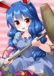 1girl animal_ears bangs blue_dress blue_hair cowboy_shot crescent_moon crescent_print dress eyebrows_visible_through_hair frilled_dress frills highres holding holding_mallet kine long_hair looking_at_viewer mallet moon open_mouth pink_background puffy_short_sleeves puffy_sleeves rabbit_ears red_eyes ruu_(tksymkw) seiran_(touhou) short_sleeves smile solo standing star_(symbol) star_print striped striped_background touhou twintails