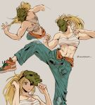 1girl abs bandages bare_shoulders blonde_hair carrotsprout dorohedoro foot_out_of_frame grey_background highres hockey_mask leg_up long_hair looking_at_viewer mask midriff multiple_views nikaidou_(dorohedoro) orange_footwear ponytail sarashi shoes simple_background twitter_username