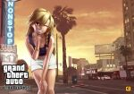 1girl ambiguous_gender bangle bangs billboard black_shirt blonde_hair bow bracelet braid car chain city coca-cola commentary_request cookie_(touhou) cowboy_shot crop_top ear_piercing flat_chest grand_theft_auto grand_theft_auto:_san_andreas ground_vehicle hair_bow hakurei_reimu hand_on_own_chin hand_on_own_knee heart heart_tattoo highres hunched_over jewelry kirisame_marisa lamppost las_vegas leaning_forward long_hair looking_at_viewer megafaiarou_(talonflame_810) micro_shorts midriff motor_vehicle navel necklace one_eye_closed palm_tree piercing postbox_(outgoing_mail) purple_bow rei_(cookie) reu_(cookie) road shirt shorts single_braid sky smile solo standing street tattoo teeth touhou traffic_light tree truck yellow_eyes yellow_sky