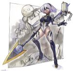 1girl adapted_costume black_gloves black_hairband breasts crossover emil_(nier) floating_hair gloves green_eyes hairband highres holding holding_lance holding_polearm holding_weapon lance leotard mecha mechanization medium_breasts mole mole_under_mouth neon_genesis_evangelion nier_(series) nier_automata oomasa_teikoku open_hand plugsuit pod_(nier_automata) polearm robot short_hair skin_tight solo_focus thigh-highs weapon white_hair yorha_no._2_type_b
