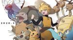 1girl bangs beige_headwear belt blonde_hair butterfree chuchu_(pokemon) clenched_hands commentary_request dated dodrio gen_1_pokemon golem green_eyes hat highres looking_to_the_side omastar open_mouth pikachu pokemon pokemon_(creature) pokemon_adventures raticate rozu_ki short_hair straw_hat teeth tongue yellow_(pokemon)