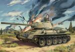 1boy axis_powers_hetalia blonde_hair blue_eyes caterpillar_tracks clouds coat commentary_request day explosion grass ground_vehicle highres military military_vehicle motor_vehicle mountain russia_(hetalia) russian_text scarf shirt short_hair sky smoke t-34 t-34-85 tank tank_helmet tree yorktown_cv-5