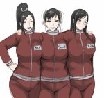 3girls alternate_costume blush breasts brown_eyes chun-li crossover earrings fatal_fury final_fantasy final_fantasy_vii gym_uniform hand_on_another's_shoulder hand_on_hip highres jacket jewelry large_breasts long_hair long_ponytail looking_down matching_outfit multiple_crossover multiple_girls one_eye_closed open_mouth pants shibusun shiranui_mai smile street_fighter sweatpants the_king_of_fighters tifa_lockhart track_jacket white_background