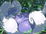 blush closed_mouth commentary_request day foliage gen_6_pokemon goodra green_eyes half-closed_eyes highres lying makoto_ikemu no_humans on_back pokemon pokemon_(creature) slime smile solo toes tree