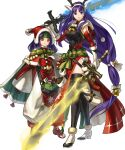 2girls altina animal_ears antlers bangs bell belt black_legwear blue_eyes blue_hair box breasts capelet closed_mouth deer_ears fake_animal_ears fire_emblem fire_emblem:_radiant_dawn fire_emblem_heroes fur_trim gift gift_box gloves glowing glowing_weapon hair_ornament hat headband highres holding holding_sword holding_weapon kita_senri long_hair looking_at_viewer low-tied_long_hair medium_breasts multiple_girls official_art open_toe_shoes pom_pom_(clothes) purple_hair red_gloves reindeer_antlers sanaki_kirsch_altina santa_hat smile standing sword thigh-highs tied_hair transparent_background weapon white_footwear white_gloves wide_sleeves yellow_eyes