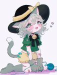 1girl absurdres alternate_costume animal_ear_fluff animal_ears bandaid bandaid_on_arm bandaids_on_nipples black_headwear black_neckwear blush cat_ears cat_tail commentary_request eyebrows_visible_through_hair fang fangs gloves green_eyes green_shirt grey_background hat heart highres kemonomimi_mode komeiji_koishi looking_to_the_side midriff neck_bell neck_ribbon open_mouth pasties paw_boots paw_gloves paws puffy_short_sleeves puffy_sleeves renakobonb ribbon shirt short_hair short_sleeves silver_hair simple_background sitting solo tail third_eye touhou wariza yellow_bloomers