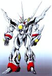 build_fighter colorized english_commentary glowing glowing_eye gradient gradient_background hades_project_zeorymer highres horns looking_ahead mecha no_humans one-eyed open_hands shiny single_horn standing super_robot vzmk2 yellow_eyes zeorymer
