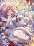 1girl bangs bare_shoulders blush breasts detached_sleeves dress fate/grand_order fate_(series) flower fur_trim hair_over_one_eye highres large_breasts light_purple_hair looking_at_viewer lying mash_kyrielight on_side short_hair smile thighs torino_akua violet_eyes white_dress white_legwear