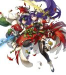 2girls altina animal_ears antlers bangs bell black_legwear blue_eyes blue_hair box breasts capelet clenched_teeth closed_mouth deer_ears fake_animal_ears fire_emblem fire_emblem:_radiant_dawn fire_emblem_heroes fur_trim gift gift_box gloves glowing glowing_weapon hair_ornament hat headband highres holding holding_sword holding_weapon kita_senri leg_up long_hair low-tied_long_hair medium_breasts multiple_girls official_art one_eye_closed parted_lips pom_pom_(clothes) purple_hair red_gloves reindeer_antlers sanaki_kirsch_altina santa_hat sword teeth thigh-highs tied_hair torn_clothes torn_legwear transparent_background weapon white_footwear white_gloves wide_sleeves yellow_eyes