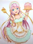 1girl blue_eyes cake commentary cowboy_shot dress food frilled_cuffs frilled_dress frills headdress highres holding holding_plate long_hair maid mayo_riyo megurine_luka open_mouth pink_hair plate puffy_short_sleeves puffy_sleeves short_sleeves smile solo spatula standing striped striped_dress takoluka traditional_media very_long_hair vocaloid white_background wrist_cuffs