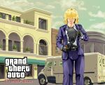 1girl absurdres alice_margatroid alternate_costume balcony bangs black_hair blazer blonde_hair blue_jacket blue_pants building bullet bullet_hole clouds collared_shirt commentary_request cookie_(touhou) copyright_request cowboy_shot grand_theft_auto ground_vehicle gun hair_over_eyes handgun highres holding holding_gun holding_weapon house jacket jigen_(cookie) kevlar_vest looking_at_viewer mansion megafaiarou_(talonflame_810) motor_vehicle pants revolver shirt shirt_pull short_hair sky solo standing tongue tongue_out touhou van weapon white_shirt window