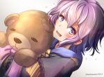bernadetta_von_varley blush clear_glass_(mildmild1311) commentary_request eyebrows_visible_through_hair fire_emblem fire_emblem:_three_houses garreg_mach_monastery_uniform heart highres object_hug open_mouth purple_hair ribbon short_hair sidelocks simple_background stuffed_animal stuffed_toy teddy_bear twitter_username violet_eyes white_background