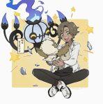 1boy :d bangs beige_shirt brown_pants chandelure dreepy fingernails gen_5_pokemon gen_8_pokemon green_eyes highres holding indian_style jacket long_sleeves male_focus open_mouth pants pokemon pokemon_(creature) pokemon_egg rozu_ki rufflet shoes short_hair sitting smile star_(symbol) teeth tongue translation_request white_footwear white_jacket