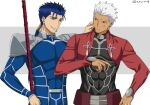 2boys akujiki59 archer blue_hair commentary_request cu_chulainn_(fate)_(all) dark_skin dark_skinned_male earrings fate/stay_night fate_(series) gae_bolg grey_hair jewelry lancer long_hair male_focus multiple_boys polearm ponytail red_eyes short_hair smile spear weapon white_hair