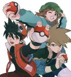 1girl 2boys badge bangs baseball_cap black_hair black_shirt black_wristband blue_eyes blue_oak brown_hair camouflage camouflage_headwear clenched_teeth coat commentary_request cosplay fingernails green_(pokemon) green_coat green_eyes green_headwear hand_on_headwear hat holding holding_poke_ball jacket jewelry leaf_(pokemon) leaf_(pokemon)_(cosplay) long_hair long_sleeves multiple_boys necklace open_mouth poke_ball poke_ball_(basic) pokemon pokemon_(game) pokemon_adventures pokemon_masters_ex red_(pokemon) red_eyes rozu_ki shirt sleeveless sleeveless_jacket sleeves_past_elbows smile spiky_hair teeth undershirt white_background wristband
