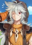 1boy absurdres antenna_hair arm_up blue_sky closed_mouth clouds eyebrows_visible_through_hair genshin_impact gloves grey_hair hair_between_eyes highres hood hood_up long_hair male_focus maumaou one_eye_closed orange_gloves outdoors razor_(genshin_impact) red_eyes scar scar_on_face scratching_head sky solo upper_body