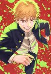 1boy black_jacket black_pants blonde_hair chainsaw_man denji_(chainsaw_man) grin highres jacket looking_at_viewer male_focus open_clothes open_jacket paint_splatter paint_stains pants red_eyes sharp_teeth shirt short_hair smile solo teeth white_shirt yuko666