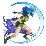 1girl artist_request black_gloves blue_eyes blue_hair boku_&_dragons boots earrings explosion fighting_stance gloves green_jacket green_shorts jacket jewelry leona_heidern looking_at_viewer military military_uniform official_art ponytail serious shorts soldier solo the_king_of_fighters tied_hair transparent_background triangle_earrings uniform
