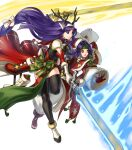 2girls altina animal_ears antlers bangs bell black_legwear blue_eyes blue_hair box breasts capelet closed_mouth deer_ears fake_animal_ears fire_emblem fire_emblem:_radiant_dawn fire_emblem_heroes fur_trim gift gift_box gloves glowing glowing_weapon hair_ornament hat headband highres holding holding_sword holding_weapon kita_senri leg_up long_hair looking_away low-tied_long_hair medium_breasts multiple_girls official_art open_mouth open_toe_shoes parted_lips pom_pom_(clothes) purple_hair red_gloves reindeer_antlers sanaki_kirsch_altina santa_hat smile sword thigh-highs tied_hair transparent_background weapon white_footwear white_gloves wide_sleeves yellow_eyes