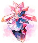 closed_mouth commentary creature diancie english_commentary gen_6_pokemon highres lady_kuki mythical_pokemon no_humans pink_eyes pink_theme pokemon pokemon_(creature) simple_background smile solo white_background
