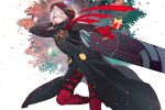 1boy ahoge behind_back black_coat boots coat colored_skin expressionless eyes_visible_through_hair eyeshadow fate/grand_order fate_(series) feet_out_of_frame gloves green_eyes hair_over_one_eye holding hood hood_up karna_(santa)_(fate) krab looking_at_viewer makeup male_focus open_hand pink_hair red_footwear red_gloves short_hair solo thigh-highs thigh_boots tsurime white_skin