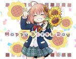 1girl ^_^ ahoge arm_up bangs blazer blue_jacket blush bow brown_bow brown_hair closed_eyes collared_shirt commentary_request dress_shirt eyebrows_visible_through_hair facing_viewer flower green_skirt grin hair_between_eyes hair_flower hair_ornament hairclip hand_up happy_birthday holding holding_flower honma_himawari jacket kadose_ara long_sleeves nijisanji open_blazer open_clothes open_jacket plaid plaid_bow plaid_skirt pleated_skirt red_bow school_uniform shirt skirt smile solo sunflower sunflower_hair_ornament white_shirt yellow_flower
