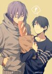 ! 2boys bag baguette bangs black_eyes black_hair blue_shirt blush bread collarbone commentary_request eating food grey_jacket grocery_bag hair_between_eyes hair_over_one_eye hand_in_pocket height_difference himuro_tatsuya holding holding_bag hood hooded_jacket jacket kuroko_no_basuke long_sleeves looking_at_another looking_up male_focus mashima_shima mole mole_under_eye multiple_boys murasakibara_atsushi paper_bag parted_lips purple_hair shirt shopping_bag short_hair simple_background speech_bubble spoken_exclamation_mark standing twitter_username upper_body violet_eyes yellow_background