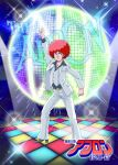 1boy afro ayaushi!_kingabiru belt brown_belt chest_hair clenched_hand cosmo_yuki densetsu_kyojin_ideon disco disco_ball formal grey_eyes highres looking_to_the_side pants parody pointing pointing_up redhead saturday_night_fever solo suit v-shaped_eyebrows white_pants white_suit
